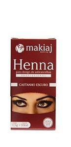 Kit henna e fixador p/ sombrancelha makiaj - castanho escuro