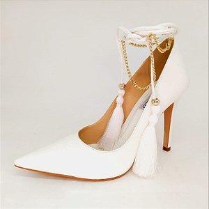 Scarpin Cecconelo Arabian Chic Croco Branco