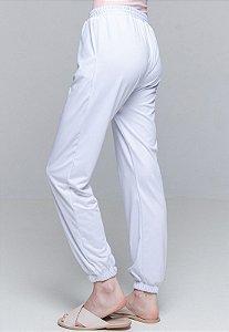 Calça Jogger Pijama Cordao Bolso Malha Elastano Branco Com Forro