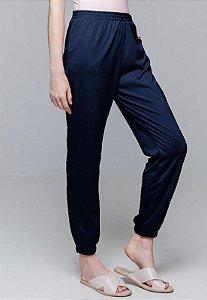 Calça Jogger Pijama Bolsos Cordao Malha Elastano Marinho
