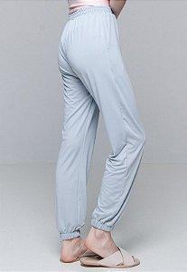 Calça Jogger Pijama Bolsos Cordao Malha Elastano Cinza Claro