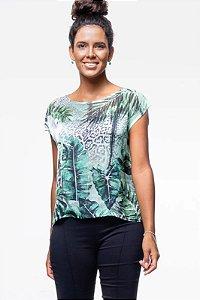 Blusa Estampada Crepe Oncinha Folhagem Verde