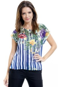 Blusa Estampada Listrada Floral Azul