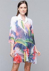 Vestido Chemise Evasê Crepe Estampado Folhas Coloridas