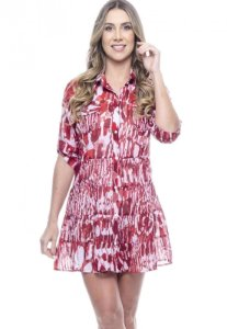 Vestido Chemise Evasê Estampado Animal Print Vermelho