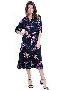 Vestido Chemise Midi Evase Viscose Estampa Floral
