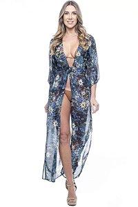 Vestido Saida Longa Fendas Mangas Bufantes Decote V Estampado Floral Fundo Preto