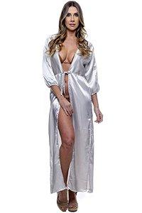 Vestido Saida Robe Liso Fendas Mangas Bufantes Decote V Cetim Prata