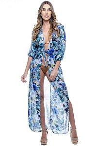 Vestido Saida Longa Fendas Mangas Bufantes Decote V Estampado Floral Azul