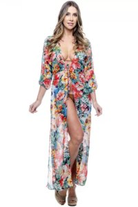 Vestido Saida Longa Fendas Mangas Bufantes Decote V Estampado Floral Verm