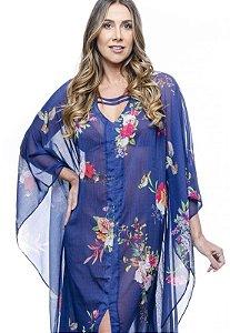 Vestido Longo Kaftan Crepe Estampado Floral Fundo Azul