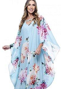 Vestido Longo Kaftan Crepe Estampado Floral Grande Fundo Azul Claro