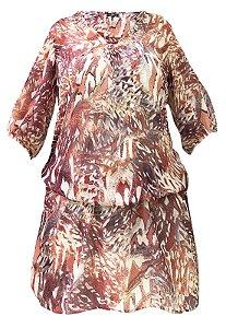 Vestido Saida de Praia com Mangas Bufantes Crepe Estampado RoxoManchado Verm