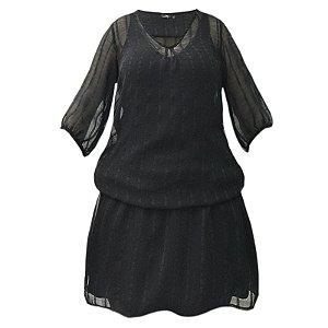 Vestido Saida de Praia com Mangas Bufantes Crepe Textura Liso Preto