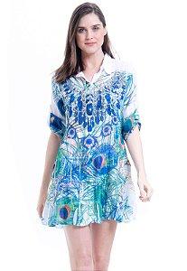 Vestido Chemise Babados Mangas 3/4  Crepe Estampado Joias Pavão Verde Azul