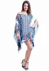 Kaftan Vestido Crepe Plus Size Estampado Floral Grafismo Azul