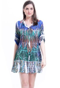 Vestido Chemise Curto Evasê Mangas 3/4 Crepe Estampado Penas Azul Verde