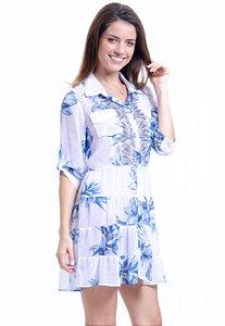 Vestido Chemise Curto Evasê Mangas 3/4 Crepe Estampado Floral Azul Branco