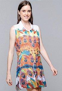 Vestido Chemise Saida de Praia Evasê Crepe Estampado