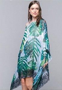 Vestido Kaftan Crepe Ombro a Ombro Estampado Folhagem Verde