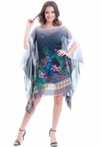 Kaftan Vestido Crepe Plus Size Estampado Floral Preto