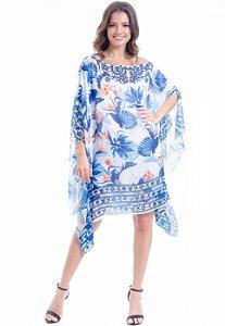 Kaftan Vestido Crepe Estampado Floral Azul