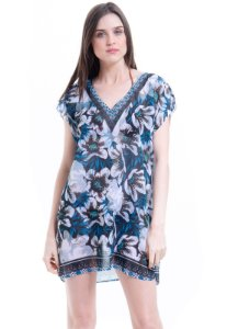 Blusa Tunica Saida de Praia Crepe Estampada Floral Azul Preto Branco