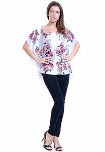Blusa Poncho Cetim Estampa Floral Branco e Vermelho