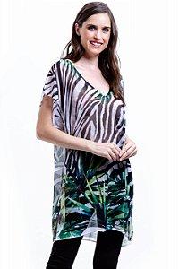 Tunica Decote V Crepe Fendas Estampa Zebra Folhas