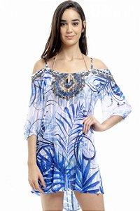 Vestido Saída Ciganinha Folhagem Azul
