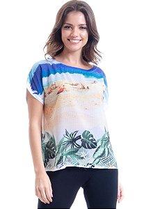 Blusa Tunica T-Shirt Cetim Estampado Ipanema Azul Off