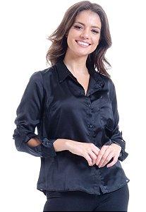 Camisa Social Lisa Cetim Preto