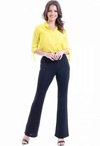 Camisa Lisa Crepe Polo Laco Mangas 34 Amarelo
