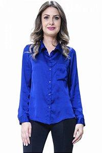Camisa Social Lisa Cetim Azul