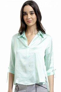 Camisa Polo Cetim Liso Verde Agua