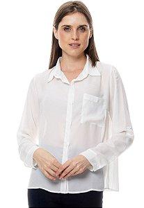 Camisa Social Básica com Bolso Crepe Lisa Off White