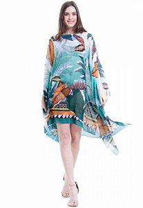 Kaftan Vestido Plus Size Crepe Estampado Folhas Verdes