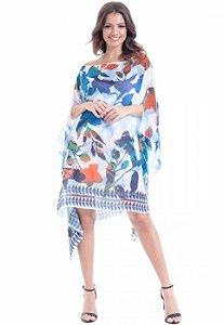 Kaftan Vestido Crepe Plus Size Crepe Estampado Floral Azul Laranja