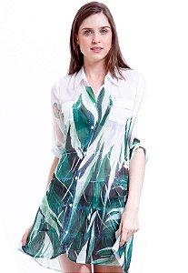 Vestido Chemise Curto Evasê Mangas 3/4 Crepe Estampado Folhagem Verde e Branco