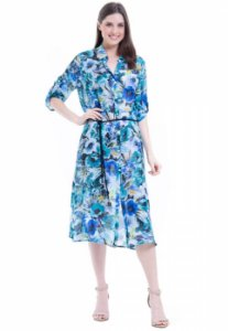 Vestido Chemise Midi Evase Crepe Estampado Azul