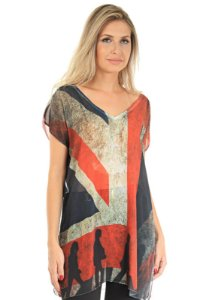 Blusa Tunica Saida de Praia Decote V Crepe Estampado Bandeira Inglesa