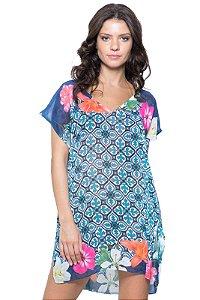 Blusa Tunica Saida de Praia Decote V Crepe Estampado Azulejo Floral Azul
