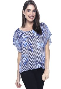 Blusa Tunica Careca Crepe Estampado Listra Flor Azul Branco