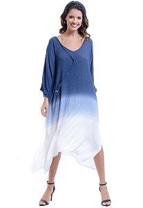 Vestido KAFTAN Saida Longo TIEDYE viscose Tingimento Artesanal Azul Jeans