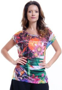 Blusa Tunica Ampla Decote Careca Estampada Floral Multicolorida
