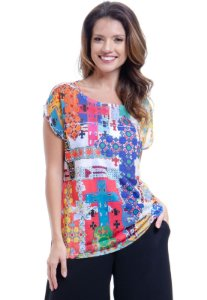 Blusa Tunica Ampla Decote Careca Estampada Multicolorida