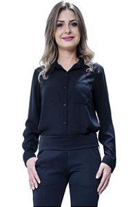 Camisa Básica em Crepe Lisa Preta