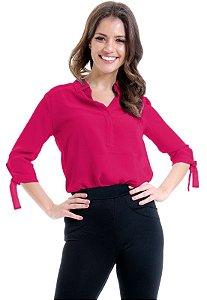 Camisa Lisa Crepe Polo Laco Mangas 34 Pink
