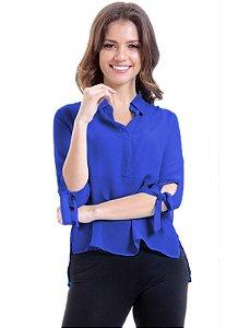 Camisa Lisa Crepe Polo Laco Mangas 34 Azul Royal