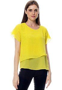 Blusa 2 Folhas Mangas Curtas Lisa Amarelo